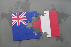 Puzzle with the national flag of new zealand and peru on a world map background. 3D illustration royalty free stock photography