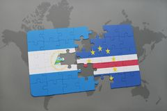 Puzzle with the national flag of nicaragua and cape verde on a world map. Background. 3D illustration Stock Photos