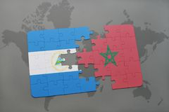 Puzzle with the national flag of nicaragua and morocco on a world map. Background. 3D illustration royalty free stock photography