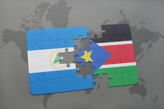Puzzle with the national flag of nicaragua and south sudan on a world map. Background. 3D illustration Royalty Free Stock Photo