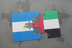 puzzle with the national flag of nicaragua and united arab emirates on a world map Royalty Free Stock Photos