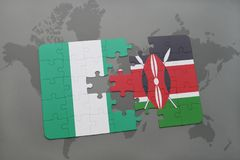 Puzzle with the national flag of nigeria and kenya on a world map. Background. 3D illustration royalty free stock images