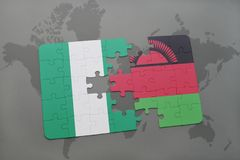 Puzzle with the national flag of nigeria and malawi on a world map. Background. 3D illustration Stock Images