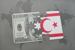 puzzle with the national flag of northern cyprus and dollar banknote on a world map background. Royalty Free Stock Photos