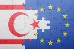 Puzzle with the national flag of northern cyprus and european union Stock Image