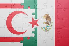 Puzzle with the national flag of northern cyprus and mexico. Concept stock photos