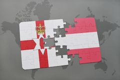 Puzzle with the national flag of northern ireland and austria on a world map background. 3D illustration Royalty Free Stock Image