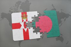 Puzzle with the national flag of northern ireland and bangladesh on a world map. Background. 3D illustration Stock Image