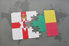 Puzzle with the national flag of northern ireland and benin on a world map. Background. 3D illustration Royalty Free Stock Image
