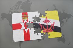 Puzzle with the national flag of northern ireland and brunei on a world map. Background. 3D illustration Stock Photography