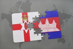 Puzzle with the national flag of northern ireland and cambodia on a world map. Background. 3D illustration Royalty Free Stock Images