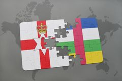 Puzzle with the national flag of northern ireland and central african republic on a world map Stock Photos