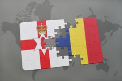 Puzzle with the national flag of northern ireland and chad on a world map Royalty Free Stock Photography