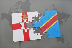 Puzzle with the national flag of northern ireland and democratic republic of the congo on a world map Stock Images