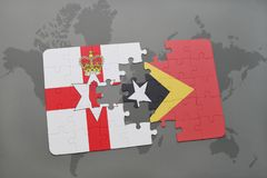 Puzzle with the national flag of northern ireland and east timor on a world map. Background. 3D illustration Stock Photography