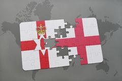 Puzzle with the national flag of northern ireland and england on a world map background. Stock Photos