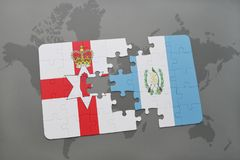 Puzzle with the national flag of northern ireland and guatemala on a world map. Background. 3D illustration Stock Photos