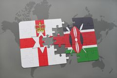 Puzzle with the national flag of northern ireland and kenya on a world map Royalty Free Stock Photo