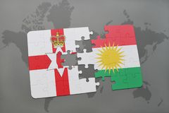 Puzzle with the national flag of northern ireland and kurdistan on a world map. Background. 3D illustration Royalty Free Stock Photo