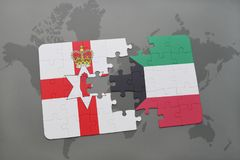 Puzzle with the national flag of northern ireland and kuwait on a world map. Background. 3D illustration Royalty Free Stock Photo