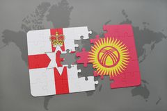 Puzzle with the national flag of northern ireland and kyrgyzstan on a world map. Background. 3D illustration Stock Images