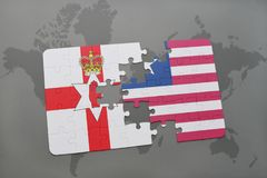 Puzzle with the national flag of northern ireland and liberia on a world map. Background. 3D illustration Stock Images