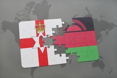 Puzzle with the national flag of northern ireland and malawi on a world map. Background. 3D illustration Stock Image