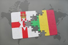 Puzzle with the national flag of northern ireland and mali on a world map. Background. 3D illustration Stock Image