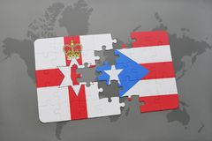 Puzzle with the national flag of northern ireland and puerto rico on a world map Royalty Free Stock Images