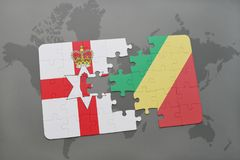 Puzzle with the national flag of northern ireland and republic of the congo on a world map Royalty Free Stock Photo