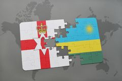 Puzzle with the national flag of northern ireland and rwanda on a world map. Background. 3D illustration Royalty Free Stock Photography
