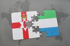 Puzzle with the national flag of northern ireland and sierra leone on a world map Stock Images