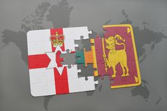 puzzle with the national flag of northern ireland and sri lanka on a world map Stock Photos