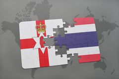 Puzzle with the national flag of northern ireland and thailand on a world map. Background. 3D illustration stock images