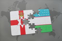 Puzzle with the national flag of northern ireland and uzbekistan on a world map Royalty Free Stock Images