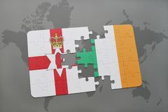 Puzzle with the national flag of northern ireland and ireland on a world map background. Stock Photos