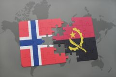 Puzzle with the national flag of norway and angola on a world map. Background. 3D illustration Royalty Free Stock Photos
