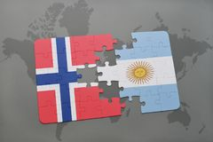 Puzzle with the national flag of norway and argentina on a world map Stock Photography