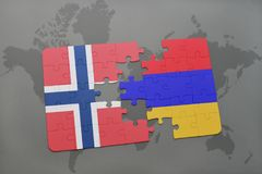 Puzzle with the national flag of norway and armenia on a world map background. Royalty Free Stock Photos