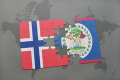Puzzle with the national flag of norway and belize on a world map. Background. 3D illustration Stock Photos