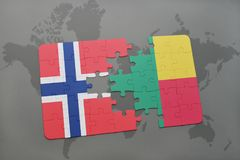 Puzzle with the national flag of norway and benin on a world map. Background. 3D illustration Stock Photography