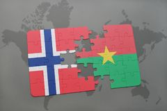 Puzzle with the national flag of norway and burkina faso on a world map. Background. 3D illustration Royalty Free Stock Photos