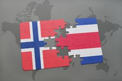 Puzzle with the national flag of norway and costa rica on a world map. Background. 3D illustration Royalty Free Stock Photos