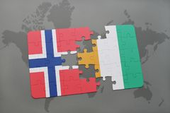 Puzzle with the national flag of norway and cote divoire on a world map. Background. 3D illustration Stock Photography