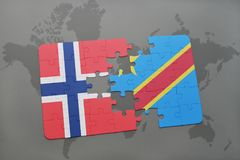 Puzzle with the national flag of norway and democratic republic of the congo on a world map. Background. 3D illustration Stock Photo