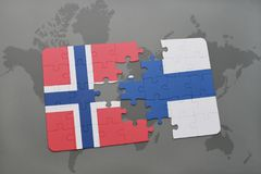 Puzzle with the national flag of norway and finland on a world map background. 3D illustration Stock Image