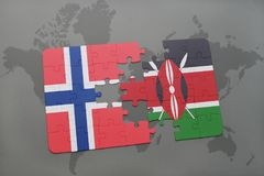 Puzzle with the national flag of norway and kenya on a world map. Background. 3D illustration stock photo