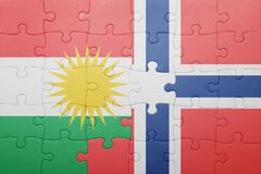 Puzzle with the national flag of norway and kurdistan. Concept Stock Photo