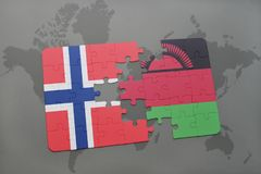 Puzzle with the national flag of norway and malawi on a world map. Background. 3D illustration Royalty Free Stock Photo
