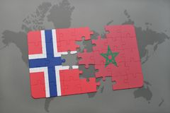 Puzzle with the national flag of norway and morocco on a world map. Background. 3D illustration stock image